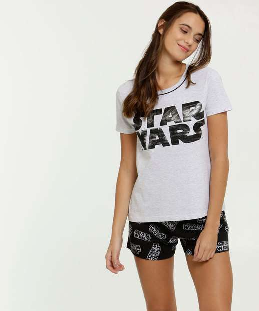 Image_Pijama Feminino Estampa Star Wars Manga Curta Disney