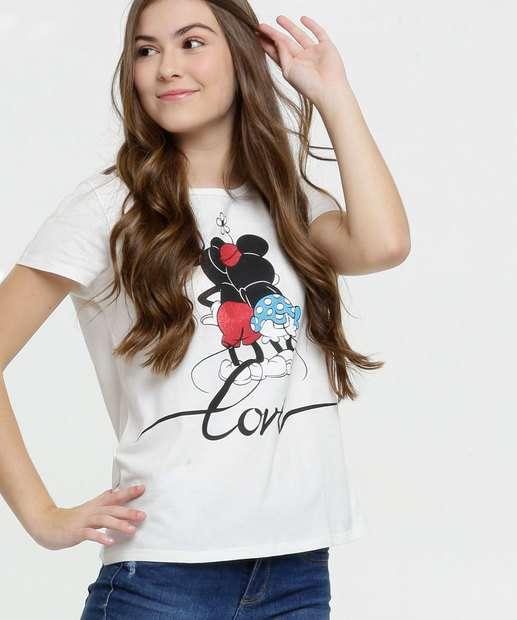 Image_Blusa Juvenil Estampa Mickey e Minnie Manga Curta Disney