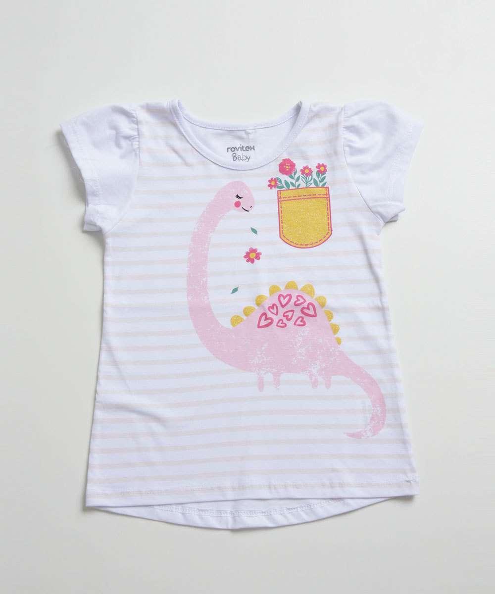 Blusa Infantil Listrada Estampa Dinossauro Manga Curta
