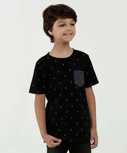 Image_Camiseta Infantil Estampada Bolso Manga Curta Marisa