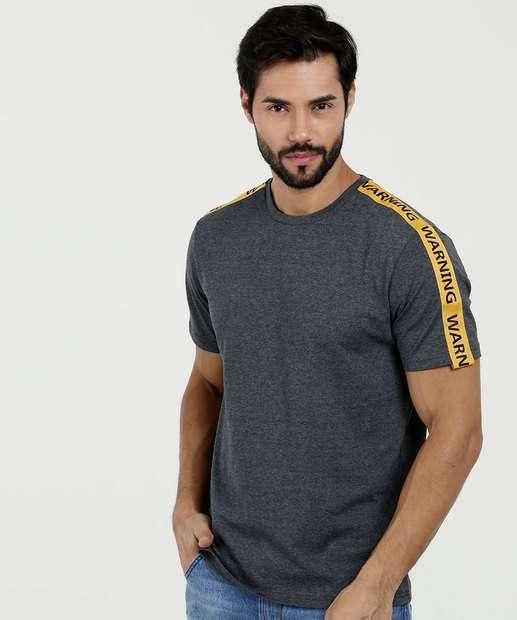 Image_Camiseta Masculina Mescla Faixa Manga Curta MR