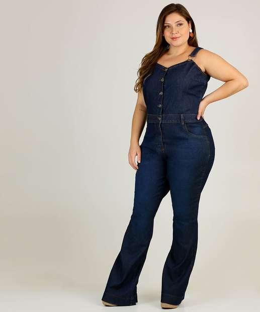 Image_Macacão Plus Size Feminino Jeans Flare
