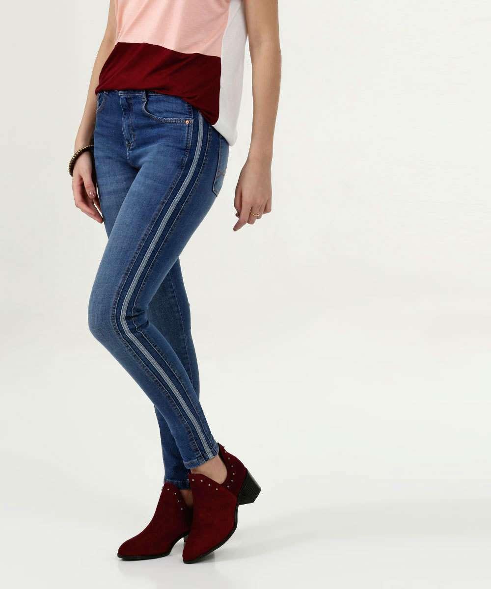 Calça Feminina Jeans Skinny Listras Marisa