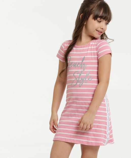 Image_Vestido Infantil Listrado Glitter Manga Curta