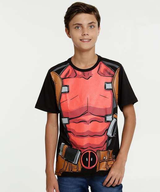 Image_Camiseta Juvenil Estampa Deadpool Manga Curta Marvel