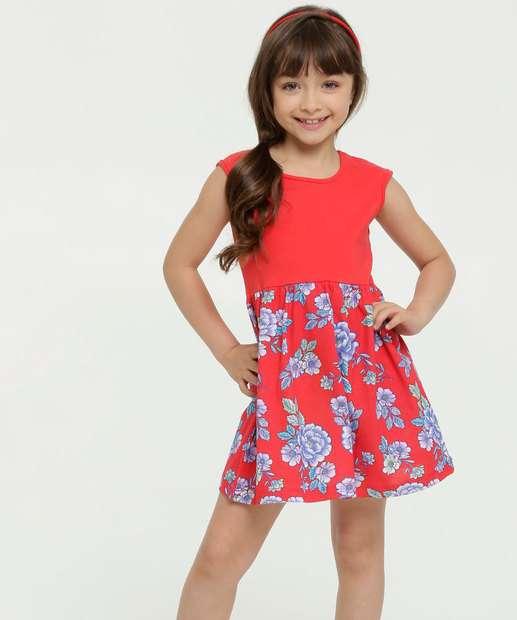 Image_Vestido Infantil Estampa Floral Sem Manga Brandili