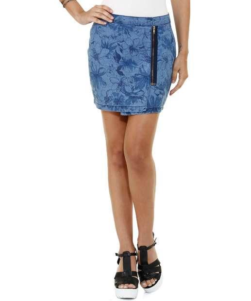 Image_Saia feminina em jeans estampa floral Marisa