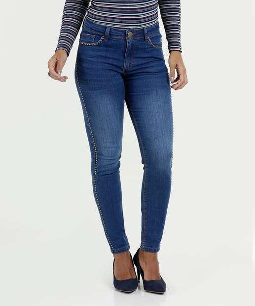 Image_Calça Feminina Jeans Skinny Tachas Five Jeans