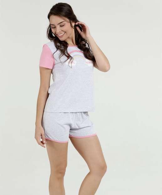 92ed7a1f0 Pijama Feminino Estampa Frontal Manga Curta Marisa