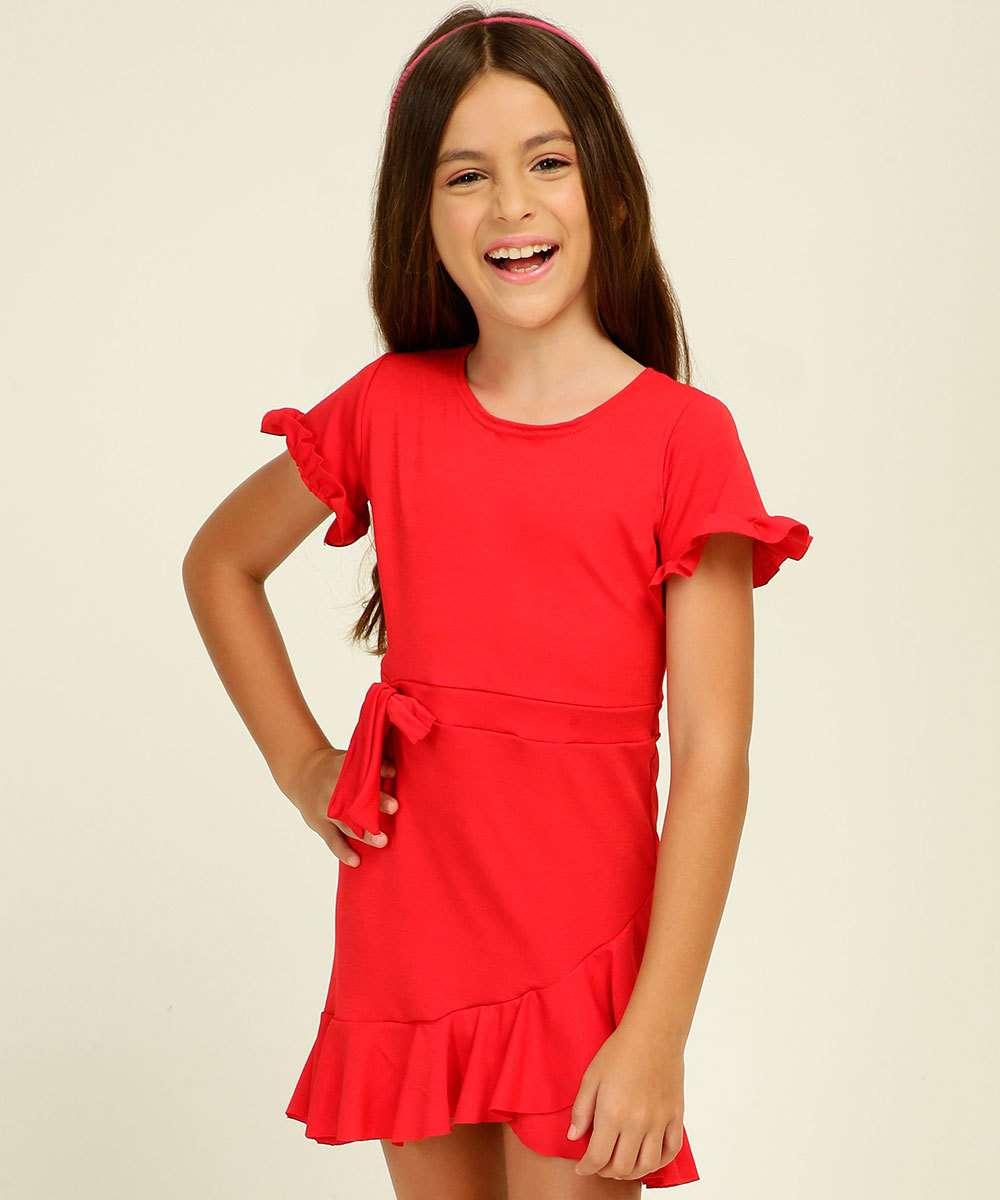 Vestido Infantil Manga Curta Transpassado Tam 4 a 10