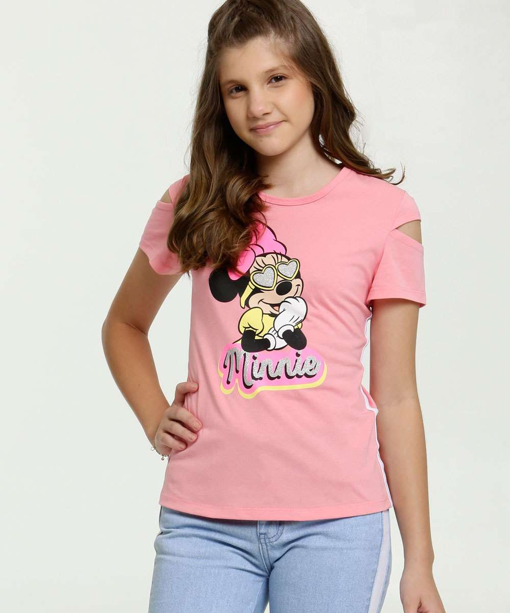Blusa Juvenil Open Shoulder Estampa Minnie Glitter Disney