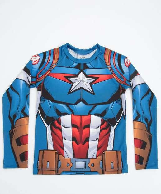 Image_Camiseta Praia Infantil Proteção UV Capitão América Marvel Tam 4 a 12