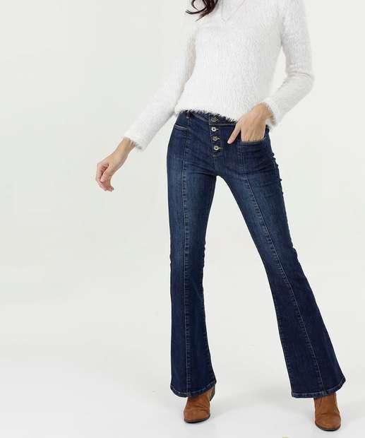 93725eceea Calça Feminina Jeans Flare Stretch Botões Marisa