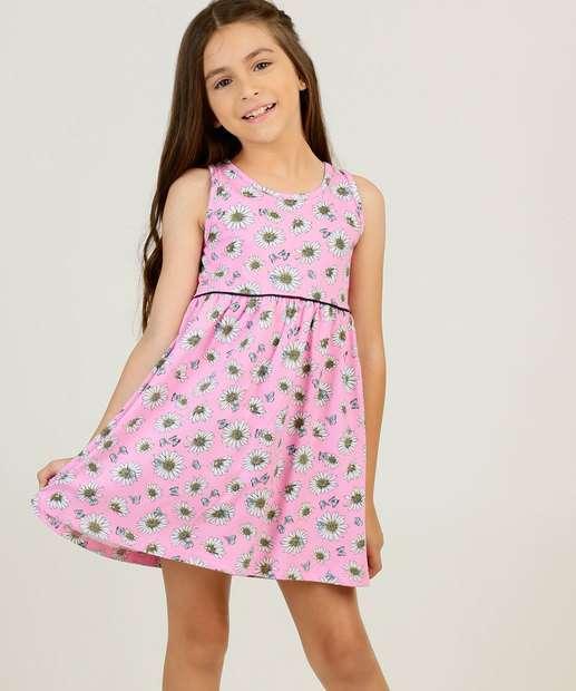 Image_Vestido Infantil Estampa Flores Sem Manga Rovitex Tam 4 a 8
