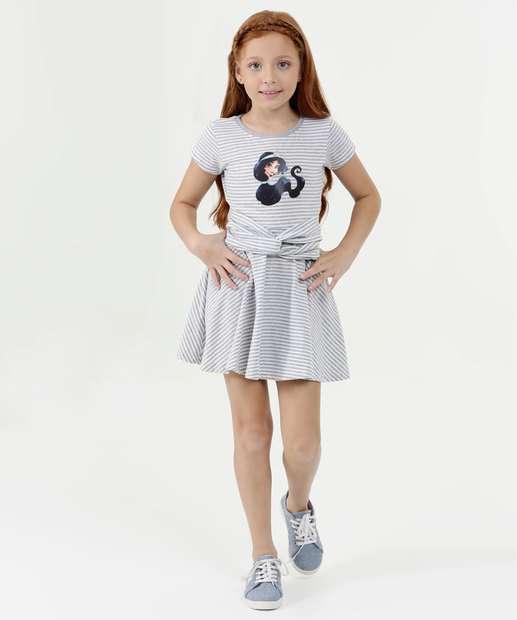 Image_Vestido Infantil Listrado Estampa Jasmine Manga Curta Disney
