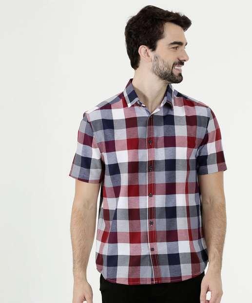 940e1a37e9 Camisa Masculina Estampa Xadrez Manga Curta MR