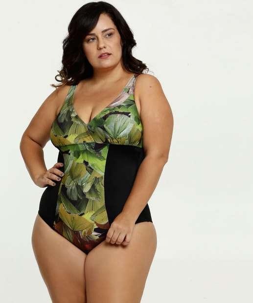 Image_Maiô Feminino Plus Size Estampa Tropical Banho de Mar