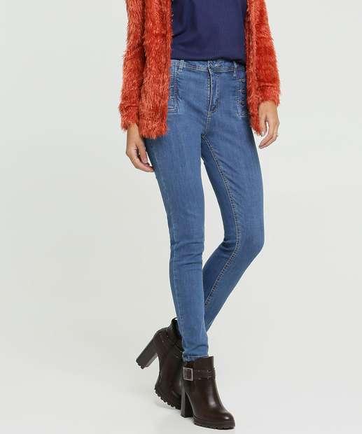 Image_Calça Jeans Skinny Botões Feminina Sawary