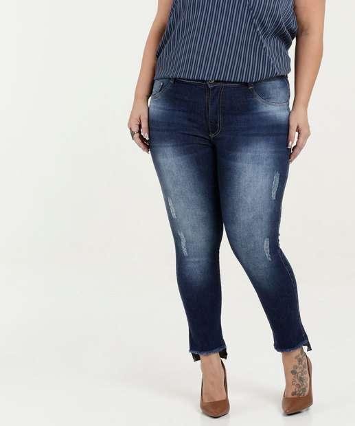 f71fbf90d Calça Feminina Jeans Cigarrete Puidos Plus Size Biotipo