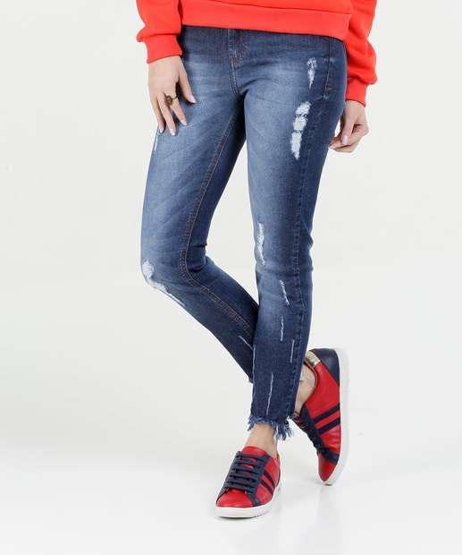 Image_Calça Feminina Jeans Stretch Puídos Cigarrete Marisa