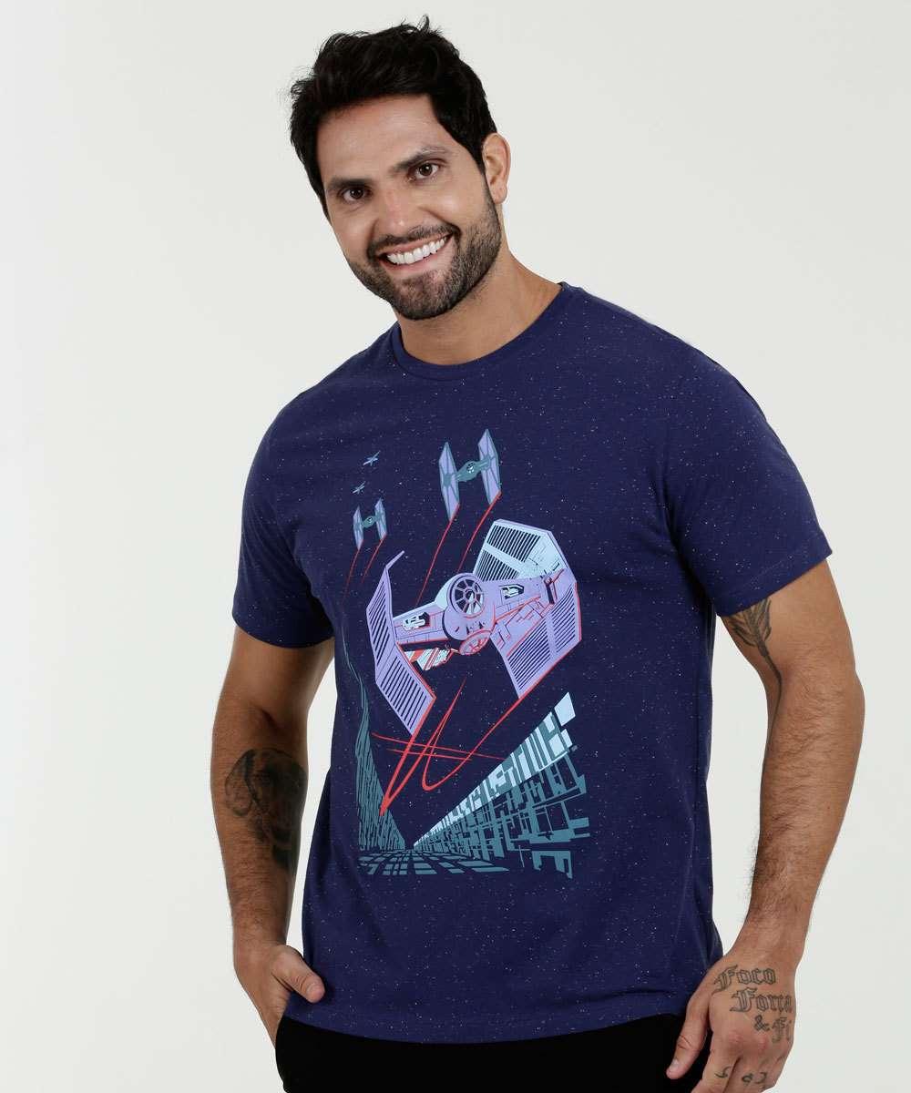 Camiseta Masculina Botonê Estampa Star Wars Manga Curta Disney