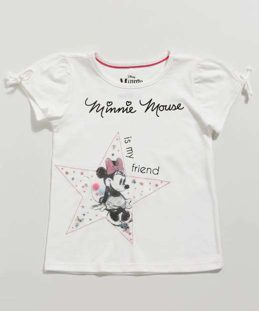 Image_Blusa Infantil Estampa Minnie Paetê Manga Curta Disney