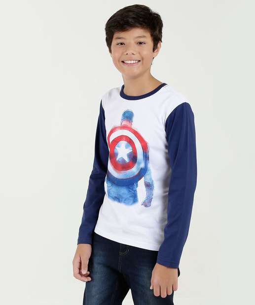 Image_Camiseta Juvenil Estampa Capitão América Manga Longa Marvel