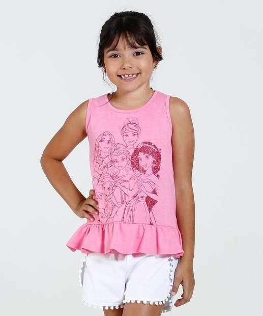 Image_Regata Infantil Princesas Brilho Babado Disney