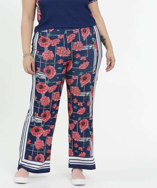 Image_Calça Feminina Estampa Floral Pantalona Plus Size