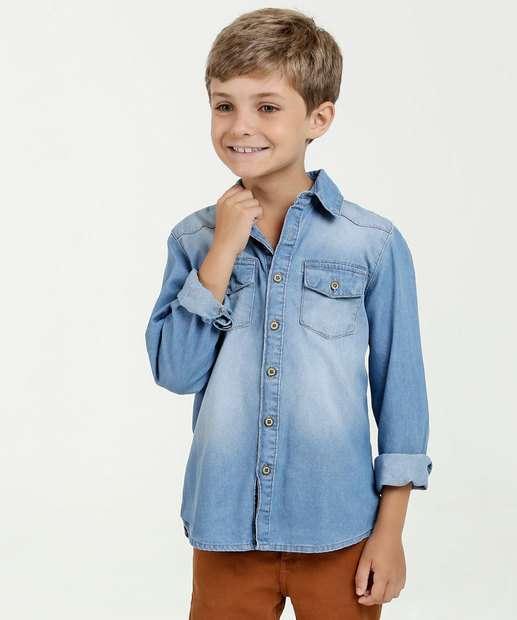 Image_Camisa Infantil Jeans Manga Longa