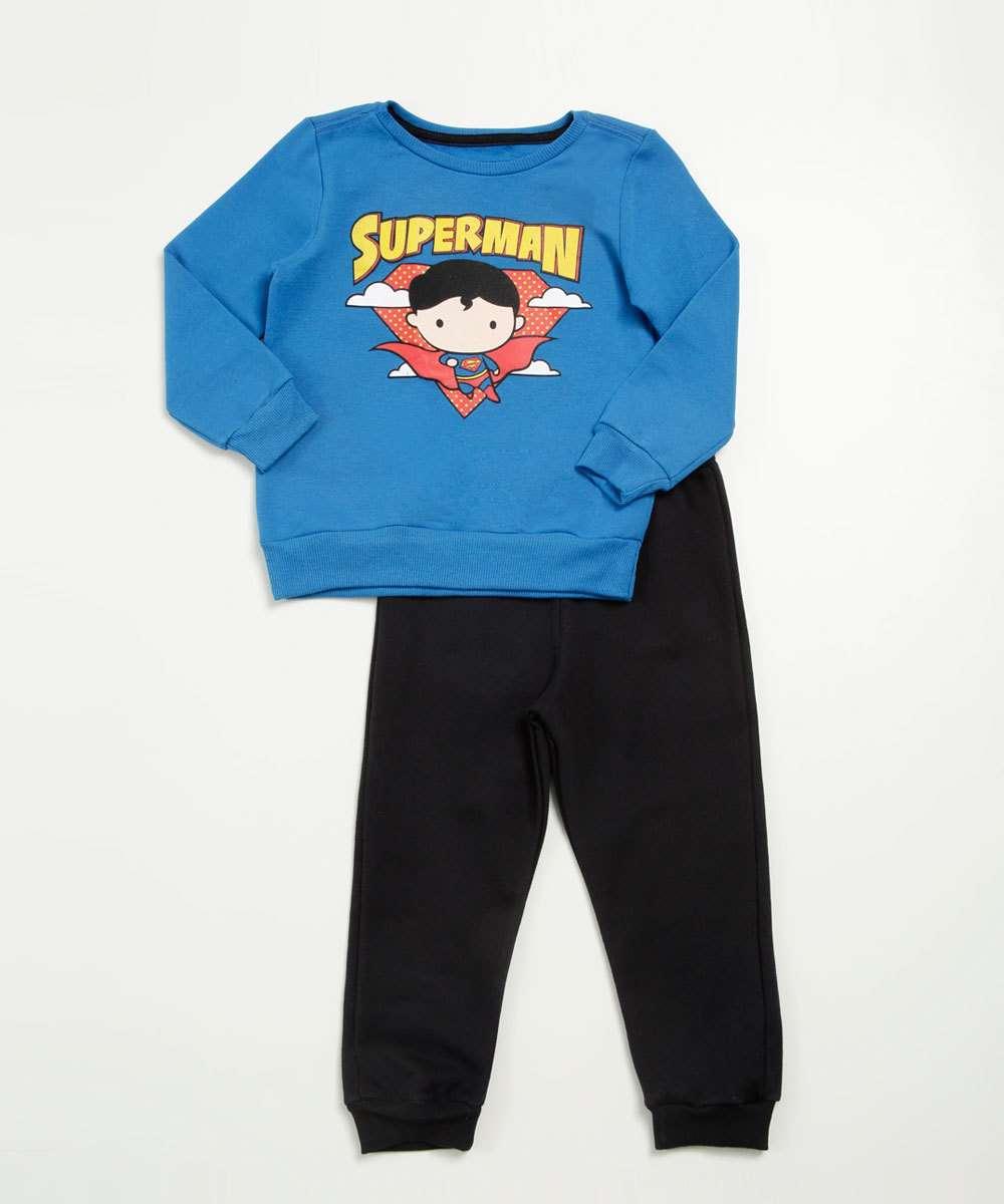 Conjunto Infantil Moletom Super Homem Liga da Justiça