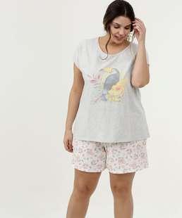 Pijama Feminino Estampa Frontal Plus Size Manga Curta Marisa