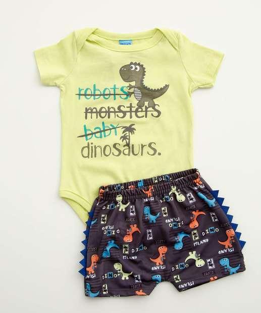 Image_Conjunto Infantil Bebê Estampa Dinossauro Manga Curta