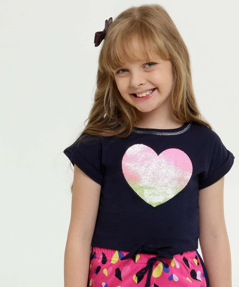 Blusa Infantil Estampa Coração Manga Curta