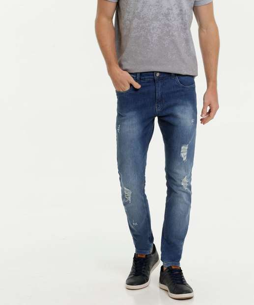 Image_Calça Masculina Jeans Reta Destroyed Rock & Soda