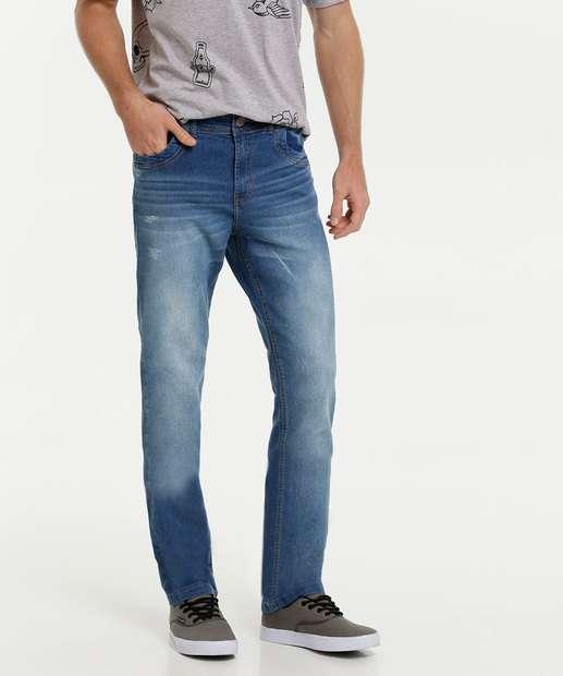 Image_Calça Masculina Reta Puídos Zune Jeans