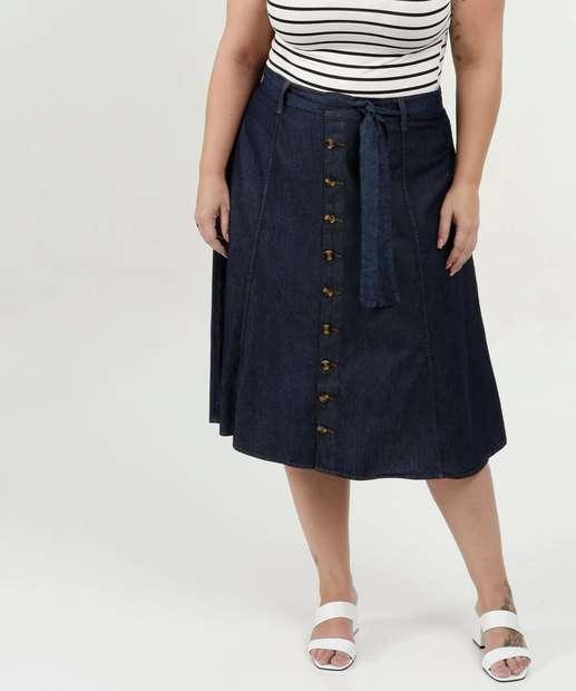 Image_Saia Feminina Jeans Midi Evasê Botões Plus Size