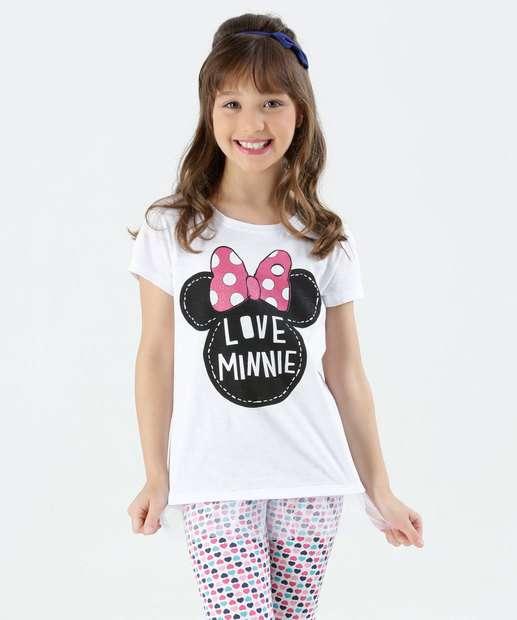 Image_Blusa Infantil Tule Manga Curta Minnie Disney