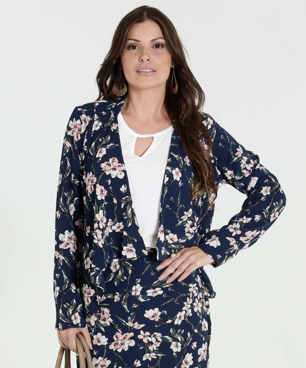 2817b10d5d Blazer Feminino Estampa Floral Marisa