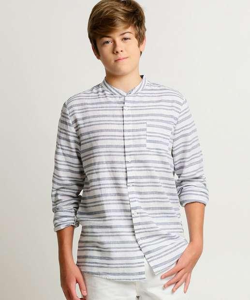 Image_Camisa Juvenil Listrada Gola Padre MR Tam 10 a 16