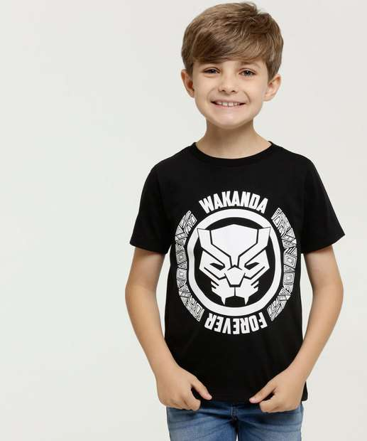 Image_Camiseta Infantil Pantera Negra Manga Curta Marvel