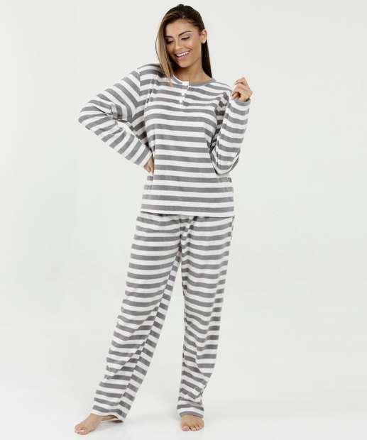 Pijama Feminino Soft Estampa Listrada Manga Longa Marisa f90489e48e6