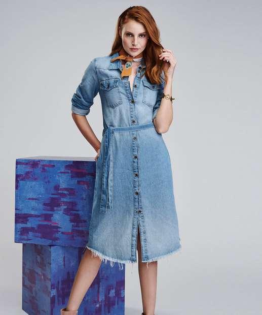 3684e3d394 Vestido Feminino Jeans Chemise Midi Manga Longa Marisa