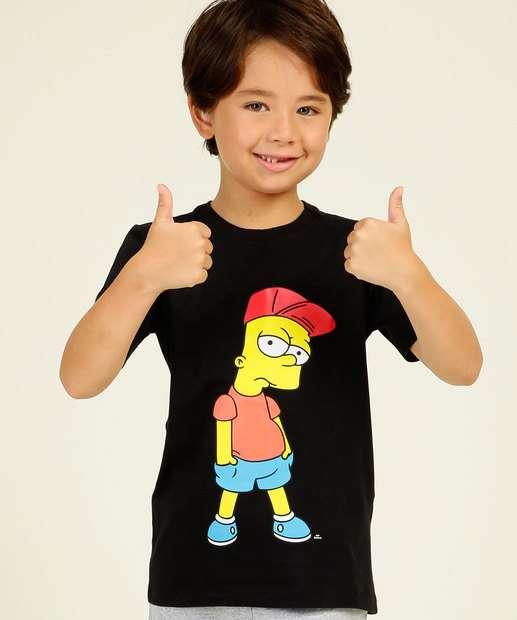Image_Camiseta Infantil Manga Curta Estampada Simpsons Tam 4 a 10