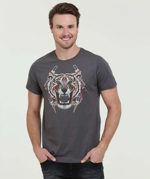 Image_Camiseta Masculina Estampa Frontal Tigre Manga Curta