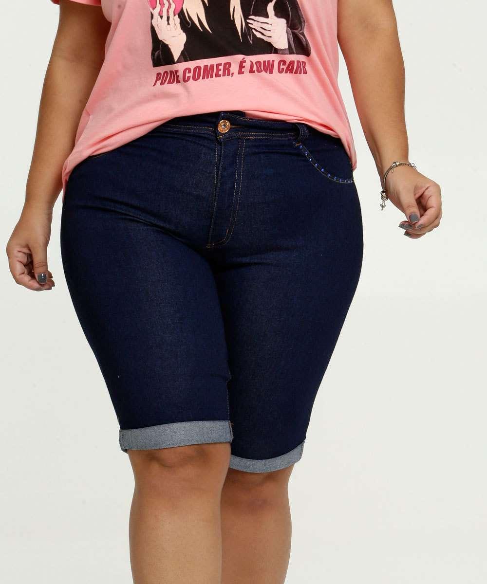 Bermuda Jeans Feminina Strass Barra Dobrada Plus Size Biotipo