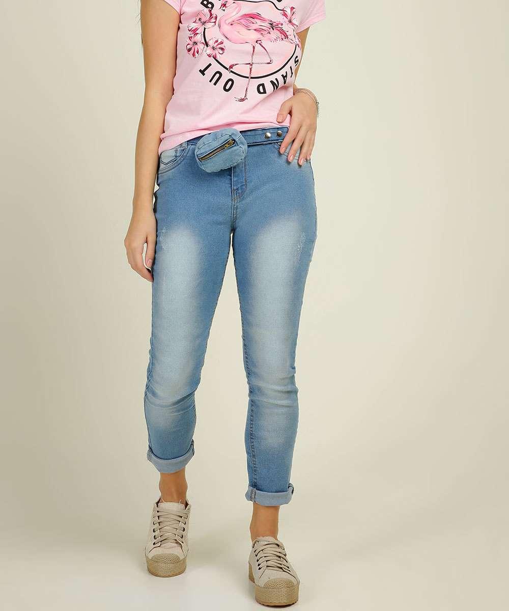 Calça Juvenil Jeans Skinny Barra Desfiada Tam 10 a 16