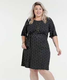 Vestido Estampado Laço Frontal Plus Size Marisa