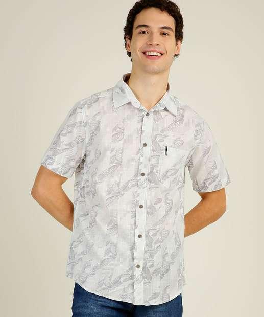 Image_Camisa Masculina Estampa Folhas Manga Curta Nicoboco