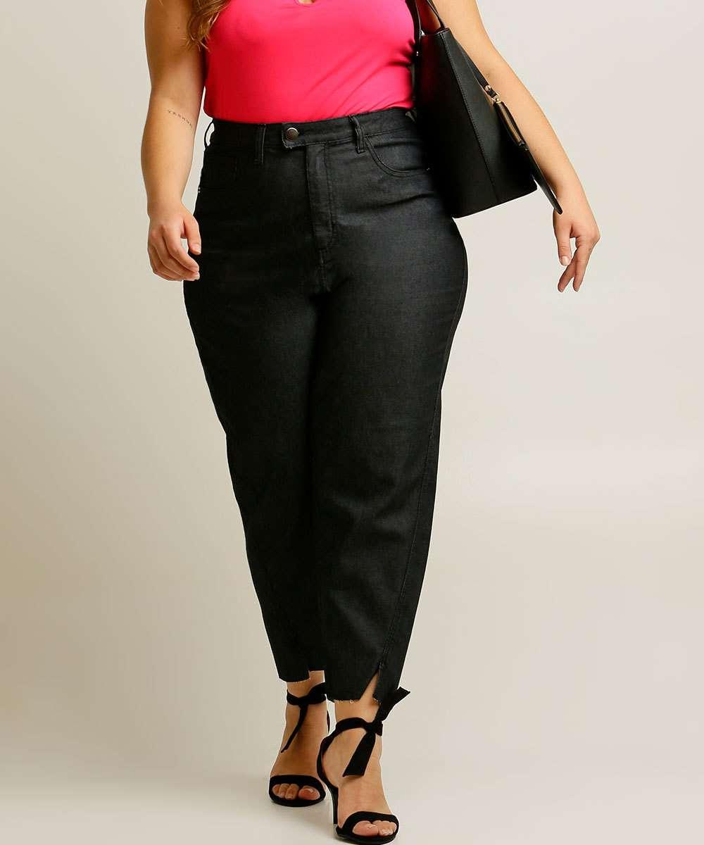 Calça Plus Size Feminina Jeans Reta Epos